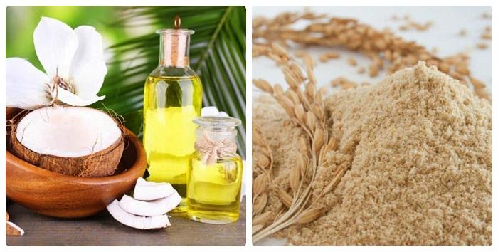 dầu dừa và cám gạo làm hồng vùng kín