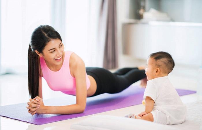 giảm mỡ bụng sau sinh bằng cách tập thể dục