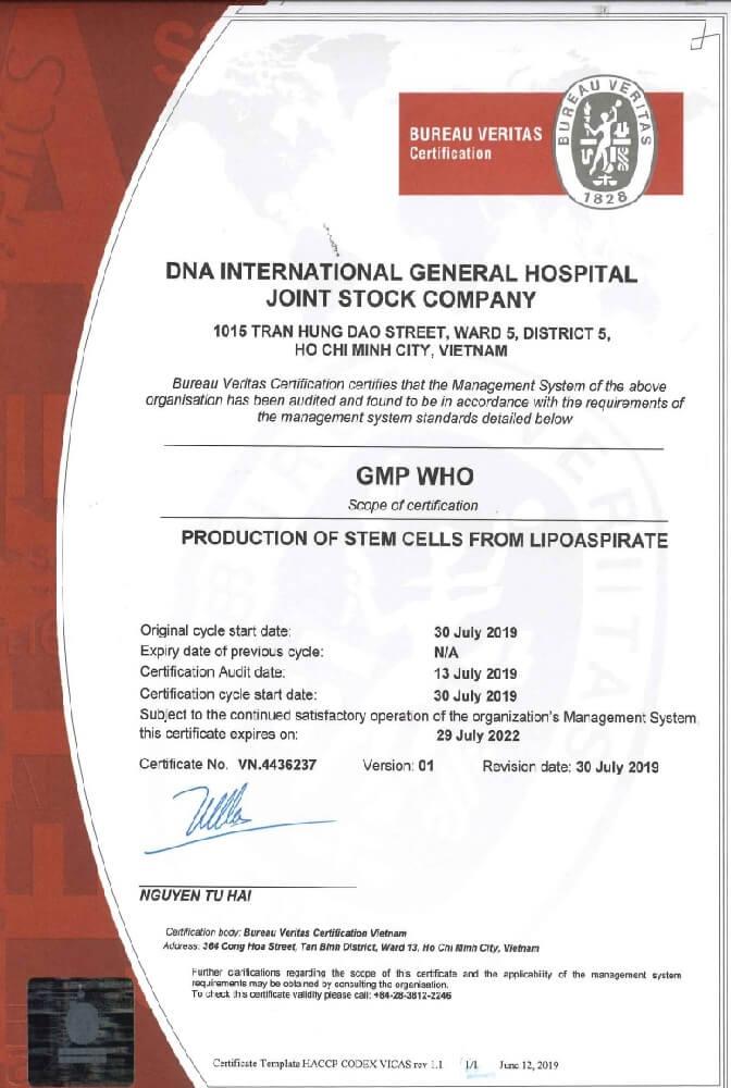 Chứng nhận GMP WHO cho phòng LAB đạt chuẩn tại Bệnh viện Quốc tế DNA.
